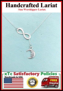 "Beautiful Sun & Infinity Silver Charm ""Y"" Lariat Necklace."