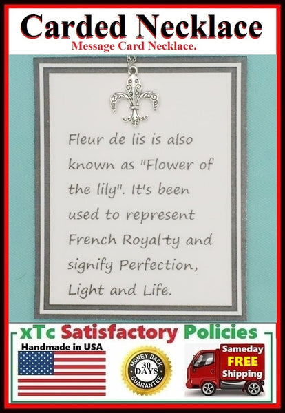 "French Royalty Gift""  Handcrafted Silver Fleur de Lis Charm Necklace."
