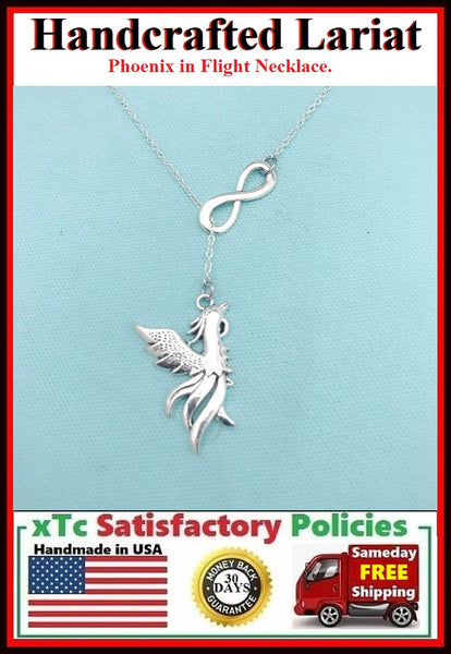Phoenix in Flight Silver Charm Necklace Lariat Style.