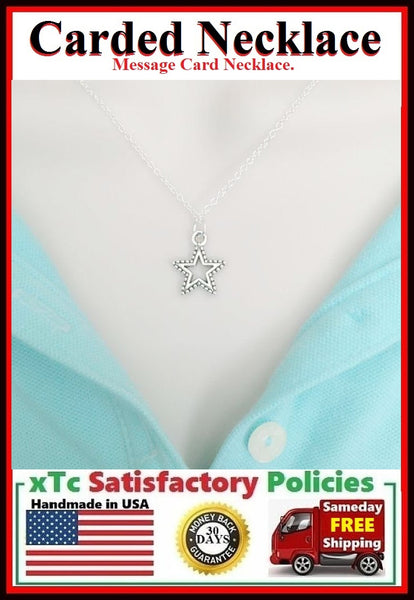Handcrafted True Friend Silver STAR Charm Necklace.
