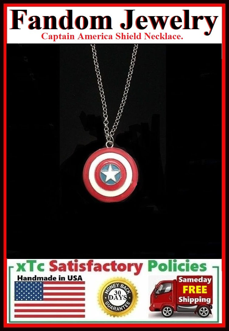 Captain America Shield Charm Silver Necklaces.