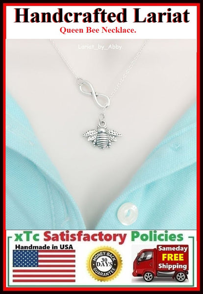 Beautiful Queen Bee & Infinity Handcrafted Necklace Lariat Style.