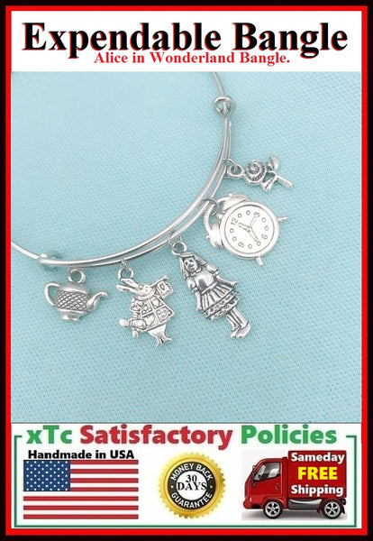 ALICE in WONDERLAND Inspired Charms Expendable Bangle.