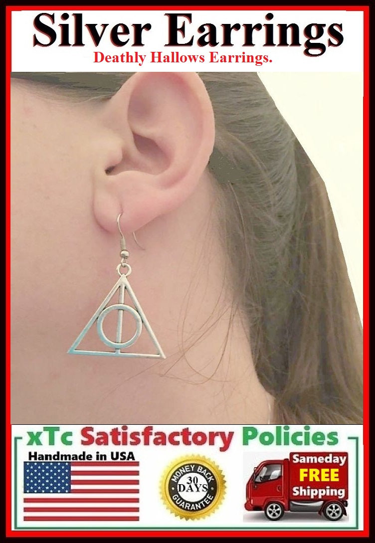 Beautiful Deathly Hallows TRIANGLE Silver Dangle Earrings.