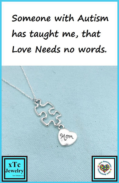 Autism Awareness Puzzle Piece with Mom Silver Necklace.