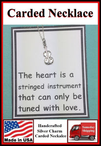 Lover's Gift: Beautiful Silver Violin Charm Necklace.