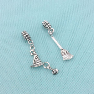 Harry potter theme Broom Stick and Hat Charms Fit Beaded Bracelet