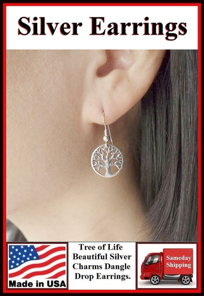 Gorgeous TREE OF LIFE Silver Dangle Earrings.