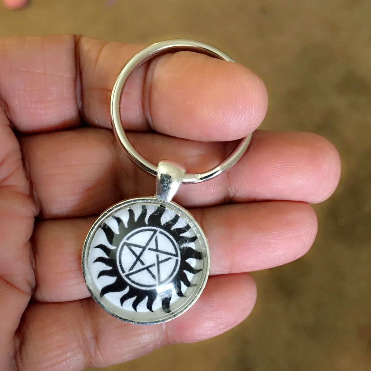Anti Possesion Tattoo Cabochon Key Ring inspiration of Supernatural.