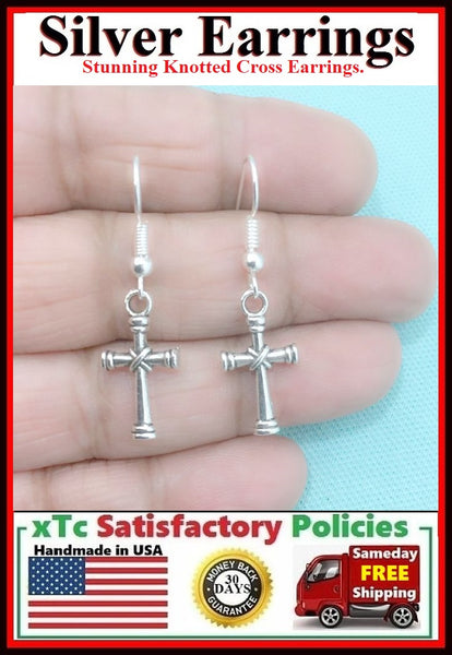 STUNNING KNOTTED CROSS Silver Charms Dangle Earrings.