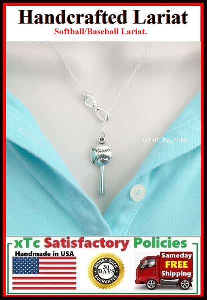 Baseball/Softball Bat & Ball Necklace Lariat Style.