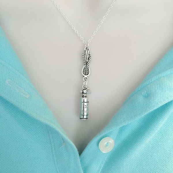 Firefighter Knot with Fire Extinguisher Silver Chain Necklace.