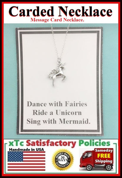 Mystical Gift; Handcrafted Silver Magical Unicorn Charm Necklace.