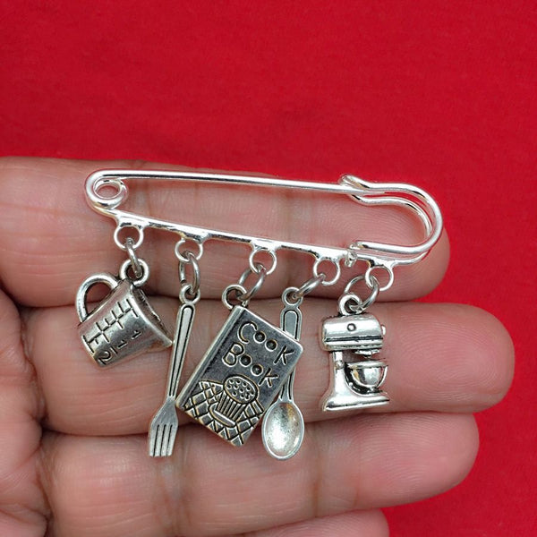 Easy on/off Brooch with 5 Cooking related Silver Charms, Chef, Cook Gift.