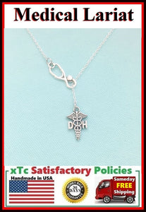 Stethoscope and DH ( Dental Hygienist ) Symbol Lariat Necklace.