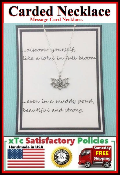 Stunning LOTUS Flower with OM Silver Charm Carded Necklace.