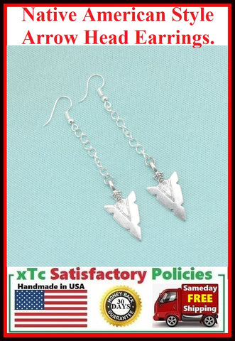 "Native American Style Silver 3"" Long ARROW HEAD Earrings."