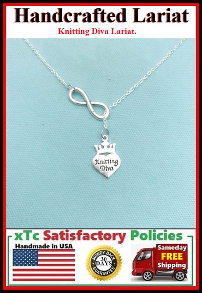Kitting Diva Necklace Lariat Style. Perfect Gift For knitter.