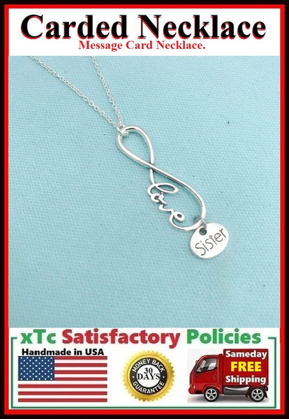 Handcrafted I Love You Unbiological Sister Silver Charm Chain Necklace.