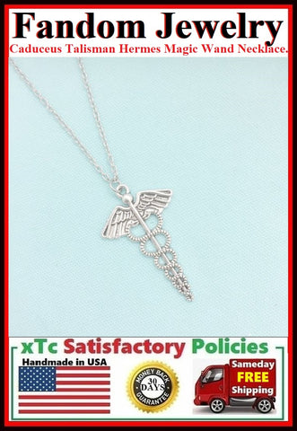 Caduceus Talisman Charm Silver Necklace.