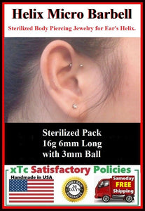 Sterilized TINY Surgical Steel HELIX 6mm Barbell.