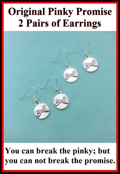 2 Pairs of PINKY PROMISE Charms Silver Dangle Earrings.