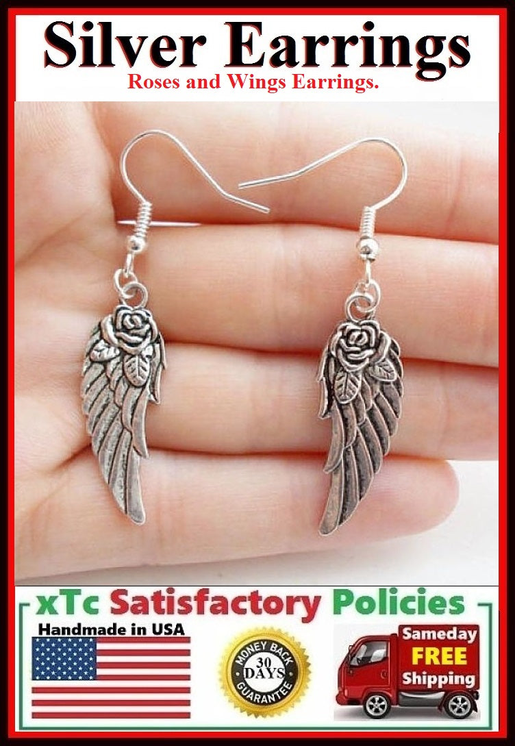 Gorgeous Wings and Roses Angelic Handcrafted Silver Dangle Earrings.
