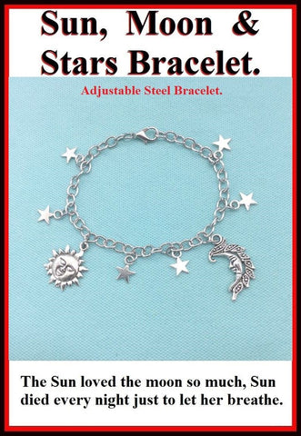 Adjustable Steel Sun, Moon & Stars Silver Charms Bracelet.