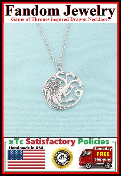 Game of Thrones inspired Dragon Silver Charm Necklace.
