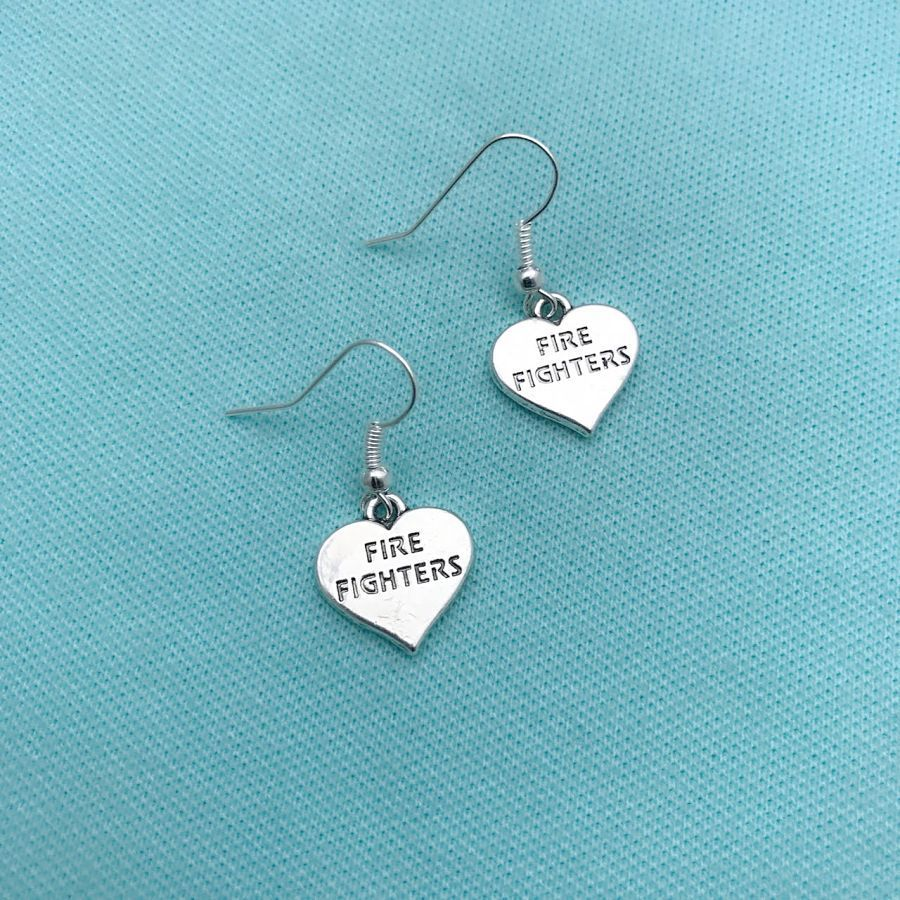 Beautiful FIREFIGHTERS Heart Silver Dangle Earrings.