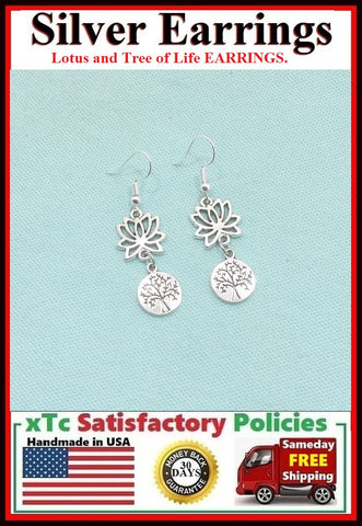 SIMPLY Stunning LOTUS with Tree of Life Silver Dangle Drop Earrings.