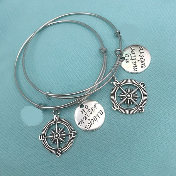 2 Pcs Set NO MATTER WHERE & COMPASS Charms Bangles.