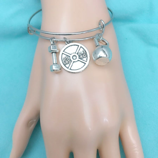 Gorgeous Handcraft Crossfit Charms Expendable Charm Bangle.