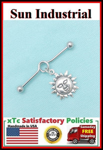 Blazing Sun Charm Surgical Steel Industrial.