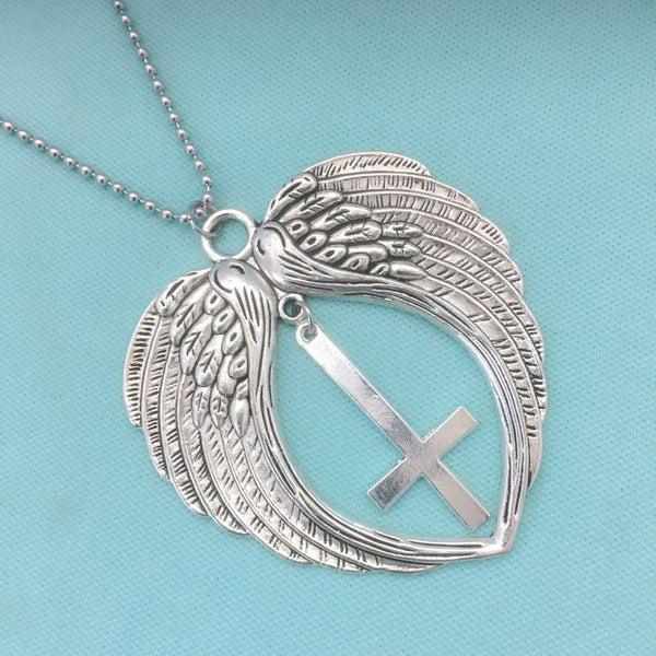 "Large Angel's Wings with Large Upside Down Cross 18"" Bead Chain"