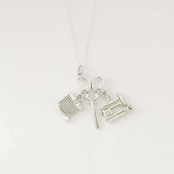 Seamstress Cluster Charm Silver Necklace.