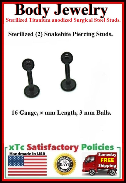 PAIR Sterilized Black anodized Surgical Steel 16g, 10mm  Studs.