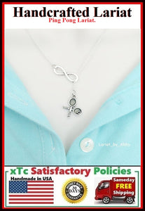 Ping Pong or Table Tennis Rackets & Infinity Handcraft Necklace Lariat Style.