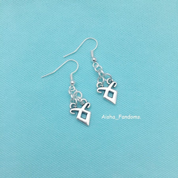 Beautiful Angelic Power Runes Charms Silver Dangle Earrings.