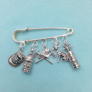 Firefighter Theme 5 Silver Alloy Charms easy on/off Brooch
