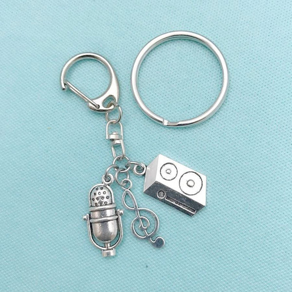 Perfect  for DJ, Singer, Band Member Music Charms Key Ring