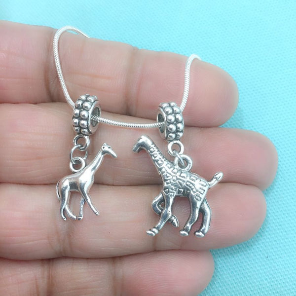 GIRAFFE LOVERS : Pair of Giraffe Charms Fit Beaded Bracelet