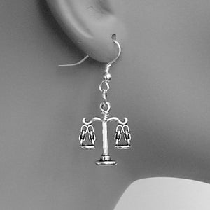 Lady Scale of Justice Silver Charms Dangle Earrings. Attorney Judge Gift.