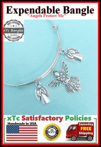 """I am Protected by Angels"" Charms Bangle, Angelic Protection Bangle."