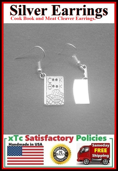 Gorgeous Kitchen Appliance and Cook Book Handcrafted Silver Dangle Earrings.