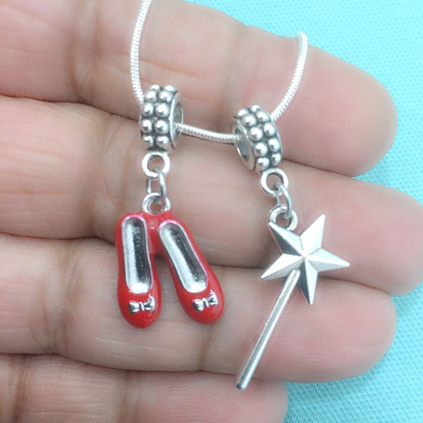 OZ INSPIRED : Magic Wand and Red Shoes Charms Fit Beaded Bracelet