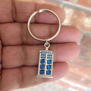 Dr Who Inspiration: Silver TARDIS Phone Box Charm Key Ring.