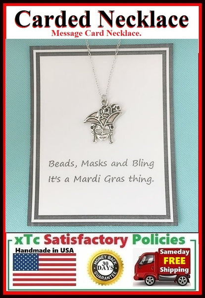 Mardi Gras Necklace; Handcrafted Silver Mask Charm Necklace.