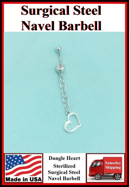 Dangle Heart Silver Charm Surgical Steel Belly Ring.