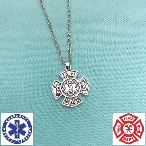 Firefighter & EMT Symbol Charm Silver Chain Necklace.